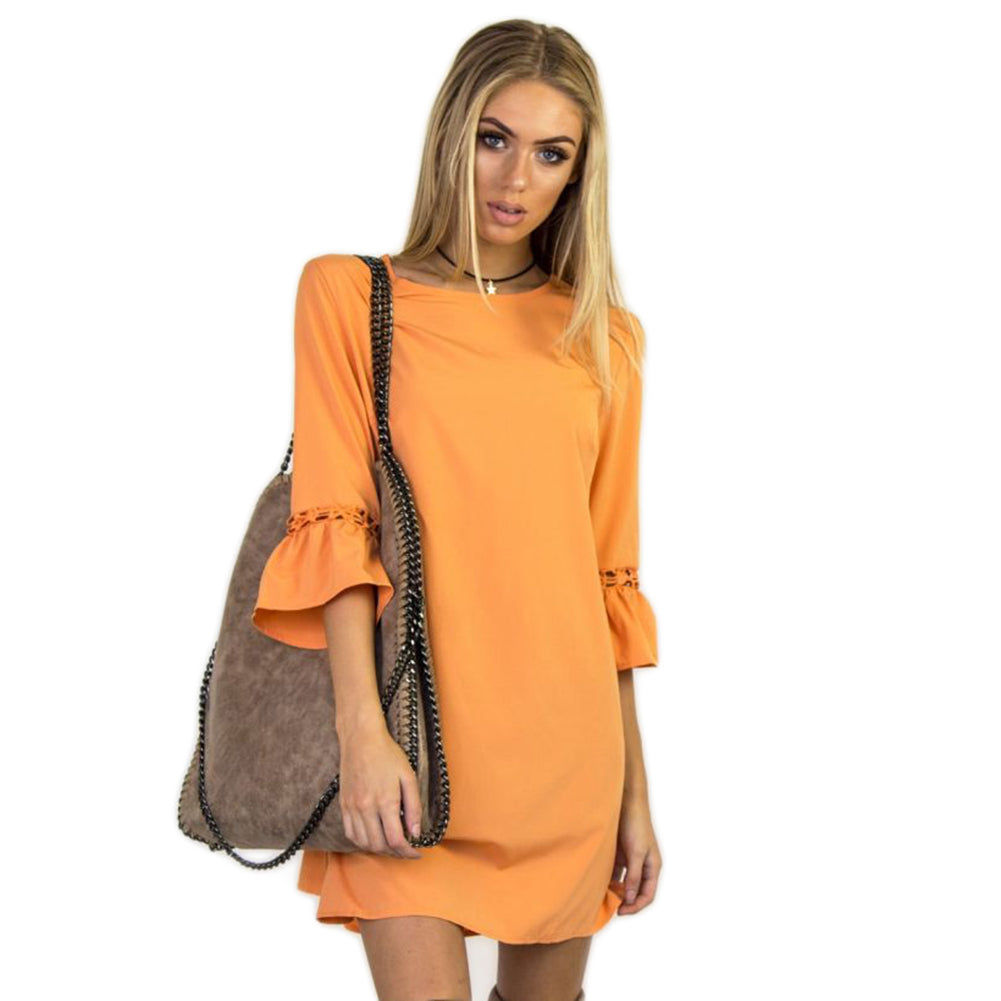 MilkySkinForever Fashion Solid Color Flare Sleeve Hollow Out Casual Loose Women Sexy Mini Dress