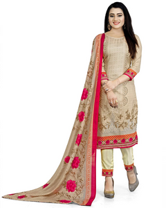 Women's Beige Cotton Printed Unstitched Salwar Suit Material