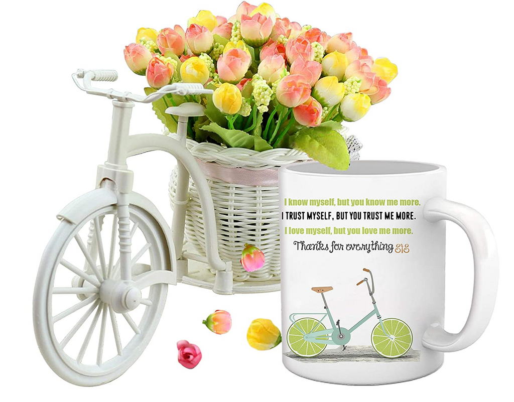 Best Gift for to Sister (Coffee Mug and Cycle Vase with Flower)