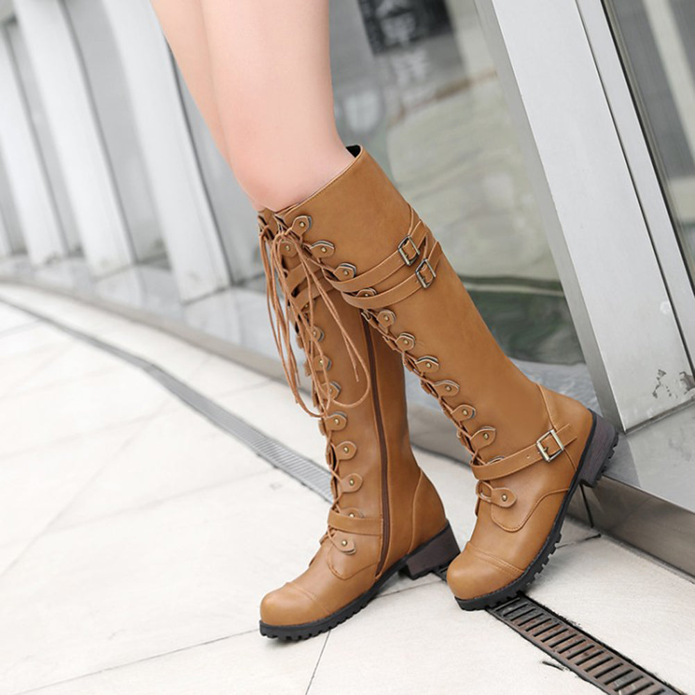 MilkySkinForever Fashion Women Faux Leather Knee High Lace Up Rivet Buckle Decor Boot Shoes