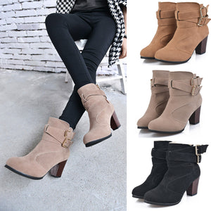MilkySkinForever Fashion Buckle Straps Winter Thick Platform High Heel Women Zipper Ankle Boots