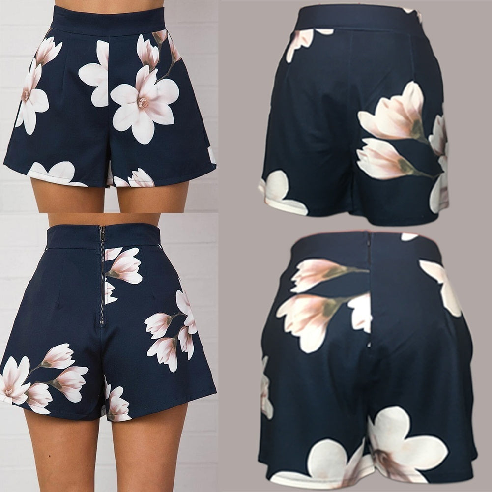 MilkySkinForever Fashion Women's Casual Summer High Waist Zipper Shorts Floral Printed Hot Pants