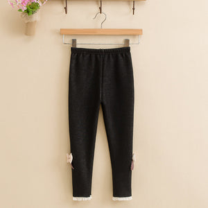 MilkySkinForever Kids Girls Jean Bowknot Cotton Elastic Waist Legging Warm Winter Spring Pants