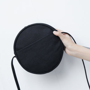 MilkySkinForever Simple Solid Color Round Canvas Women's Casual Phone Pouch Small Crossbody Bag