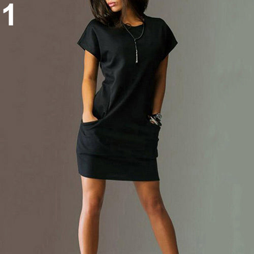 MilkySkinForever Women's Summer Casual Sexy Round Neck Short Sleeve Solid Pockets Mini Dress