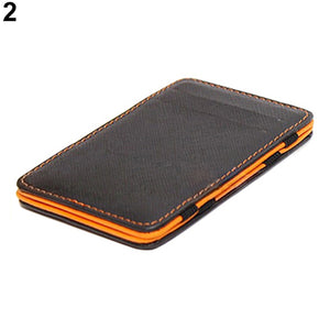 MilkySkinForever Men's Fashion Faux Leather Magic Credit Card ID Money Clip Slim Wallet Holder