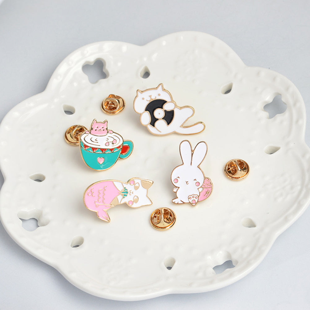MilkySkinForever Cute Rabbit Cat Metal Enamel Brooch Pin Badge Jeans Clothes Bags Decoration