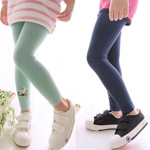 MilkySkinForever Baby Kids Girls Cotton Pants Embroidery Bird Warm Stretchy Leggings Trousers