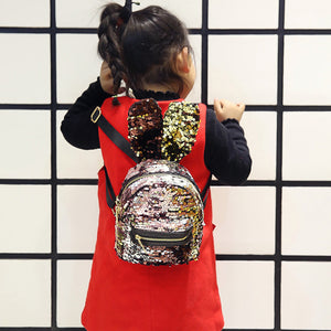 MilkySkinForever Fashion Girls Sequin Big Rabbit Ears Faux Leather Backpack Travel Shoulders Bag