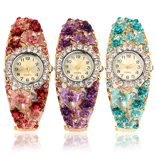 Women's Flower Butterfly Dress Watch Round Dial Rhinestone Bracelet Wristwatch
