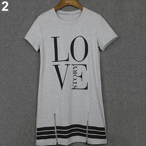Women Fashion Letter Love Printed Casual Long Top Blouse Summer Mini Dress
