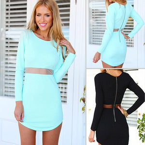 MilkySkinForever Women's Sexy Stretch Bodycon Long Sleeve O-neck Irregular Above-knee Mini Dress