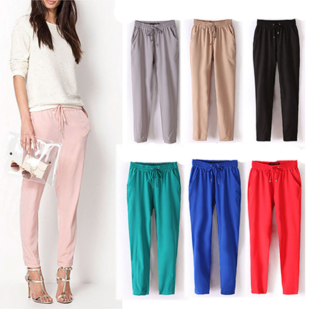 MilkySkinForever Women Fashion Casual Chffion Pants Solid Color Elastic Waist Full Length Trousers