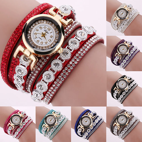 MilkySkinForever Women Multilayer Knitted Faux Leather Strap Rhinestone Bracelet Quartz Wrist Watch