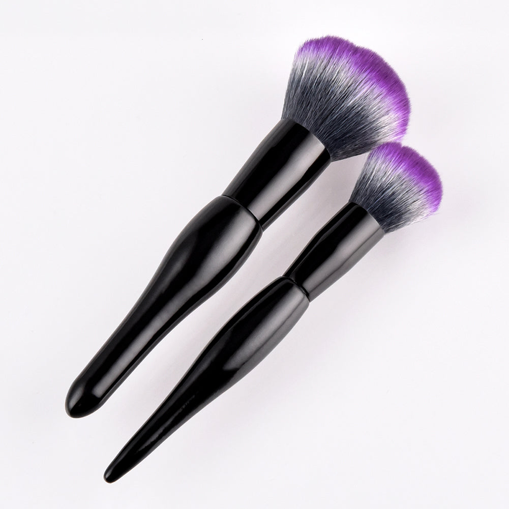 MilkySkinForever Soft Nylon Hair Curved Handle Blush Loose Powder Makeup Brush Women Beauty Tool