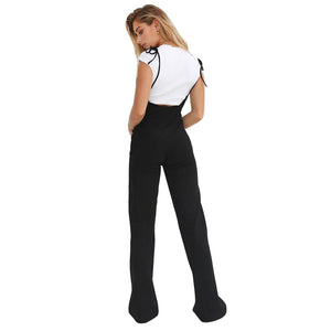 MilkySkinForever Sexy Women Long Pants Suspenders Strap Lace Up Slings High Waist Summer Trousers