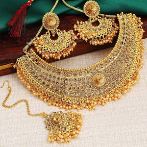 Traditional lct stone & pearl gold plated choker necklace set for women
