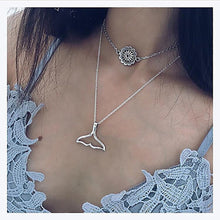 Load image into Gallery viewer, MilkySkinForever Women's Fashion Double Layers Sun Flower Fish Tail Pendant Necklace Jewelry
