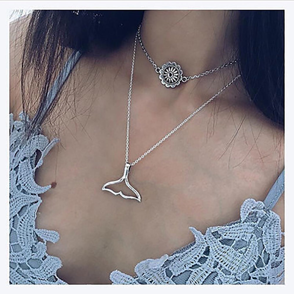 MilkySkinForever Women's Fashion Double Layers Sun Flower Fish Tail Pendant Necklace Jewelry