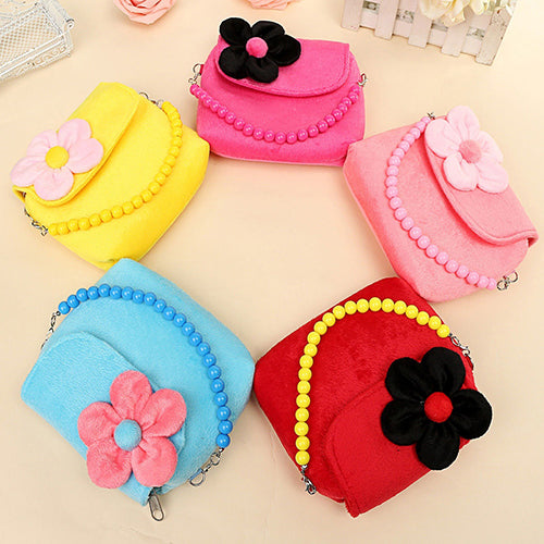MilkySkinForever Children Kid Girls Princess Messenger Shoulder Bag Flower Beads Chain Handbag