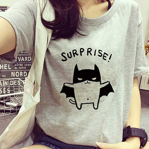 MilkySkinForever Women's Lovely Bat Printed Loose Summer T-Shirt Short Sleeve Blouse Tops Tee