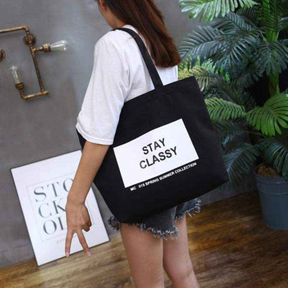 MilkySkinForever Fashion Women Canvas Eco Handbag School Travel Shopping Tote Shoulder Bag