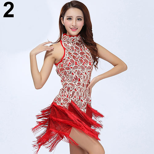 MilkySkinForever Charming Women Shiny Sequins Tasseled Latin Salsa Sexy Mini Dress Dancewear