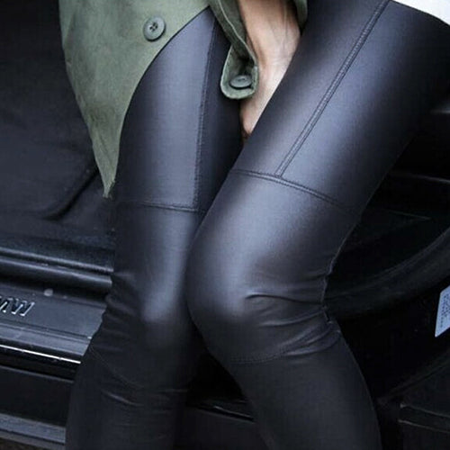 MilkySkinForever Women Chic Tight Faux Leather Pants Rock Punk Slim Fit Trousers Basic Leggings
