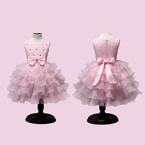 MilkySkinForever Girls Bowknt 5-Layer Skirt Princess Tutu Wedding Birthday Baptism Cake Dress