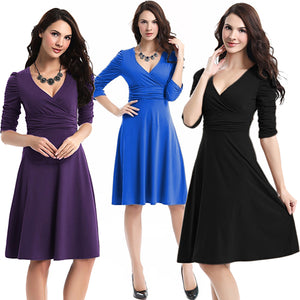 MilkySkinForever Women Fashion Elegant Half Sleeve Deep V-neck Draped Design Slim Party Dress