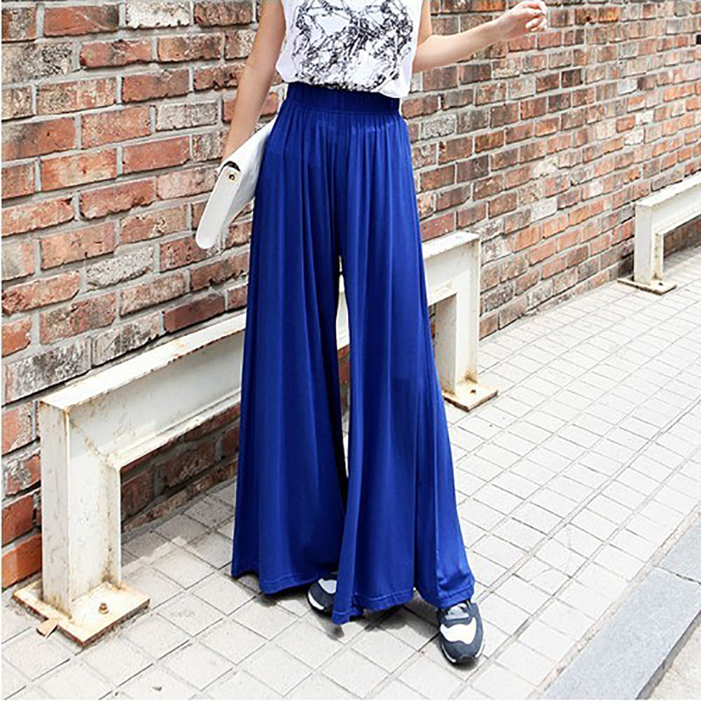 MilkySkinForever Fashion Drawstring Palazzo Wide Leg Women Casual Loose Culottes Pants Trousers