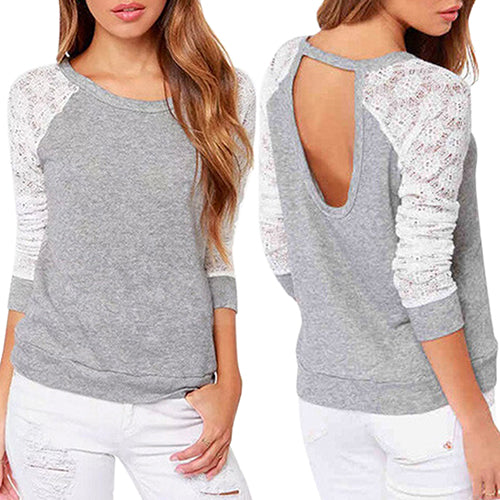 MilkySkinForever Women's Long Sleeve Sexy Lace T-Shirt Backless Embroidery Knitted Tops Pullover