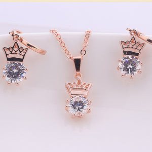 MilkySkinForever Women Crown Shape Inlaid Zircon Pendant Necklace Lever Back Earrings Jewelry Set