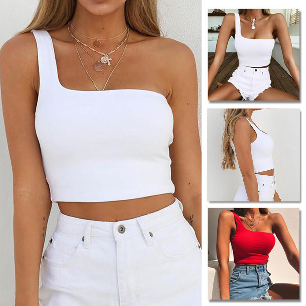 MilkySkinForever Women Blouse Summer Tank Top Shirt Sexy One Shoulder Strap Sleeveless Vest