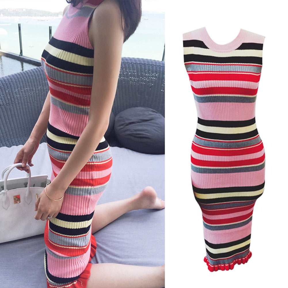 MilkySkinForever Fashion Rainbow Stripe Summer Women Sleeveless Ruffled Hem Knitted Bodycon Dress