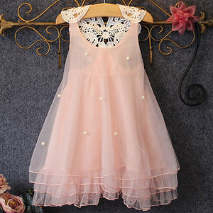 MilkySkinForever Baby Girl's Princess Party Dress Pearl Lace Flower Casual Dress Tulle Sundress 2-8Y