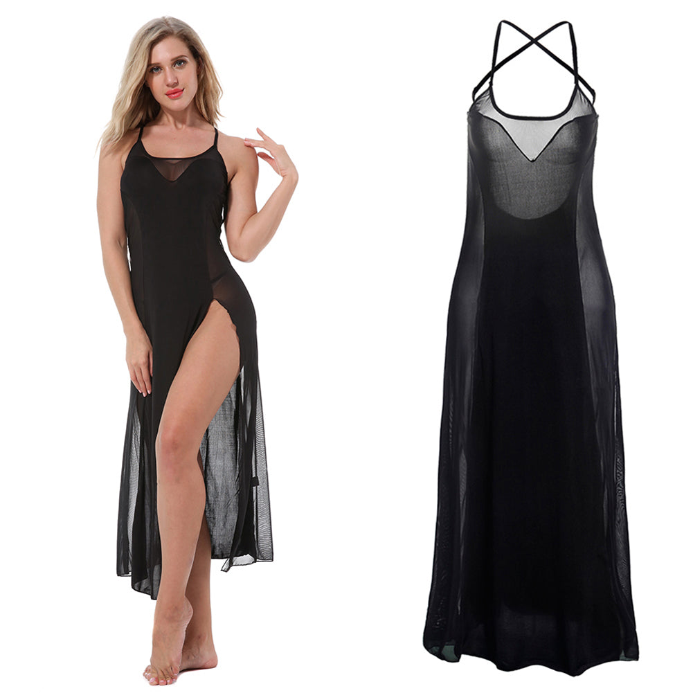MilkySkinForever Women Sexy See-through Black Sleepwear Nightwear Long Lace Backless Sling Dress