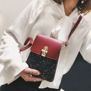 MilkySkinForever Fashion Star Sequins Glitter Faux Pearl Crossbody Shoulder Women Mini Phone Bag