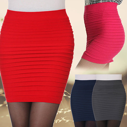 MilkySkinForever Women's Sexy Pleated Stretch Seamless Bodycon Mini Skirt Short Pencil Dress