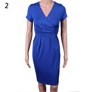 MilkySkinForever Women's Fashion Tunic Short Sleeve V-neck Dress Stretchy Sexy Bodycon Dresses