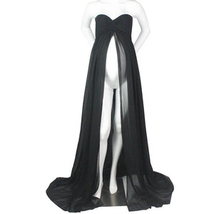 MilkySkinForever Maternity Strapless Maxi Gown Split Front Photography Dress for Photo Shoot