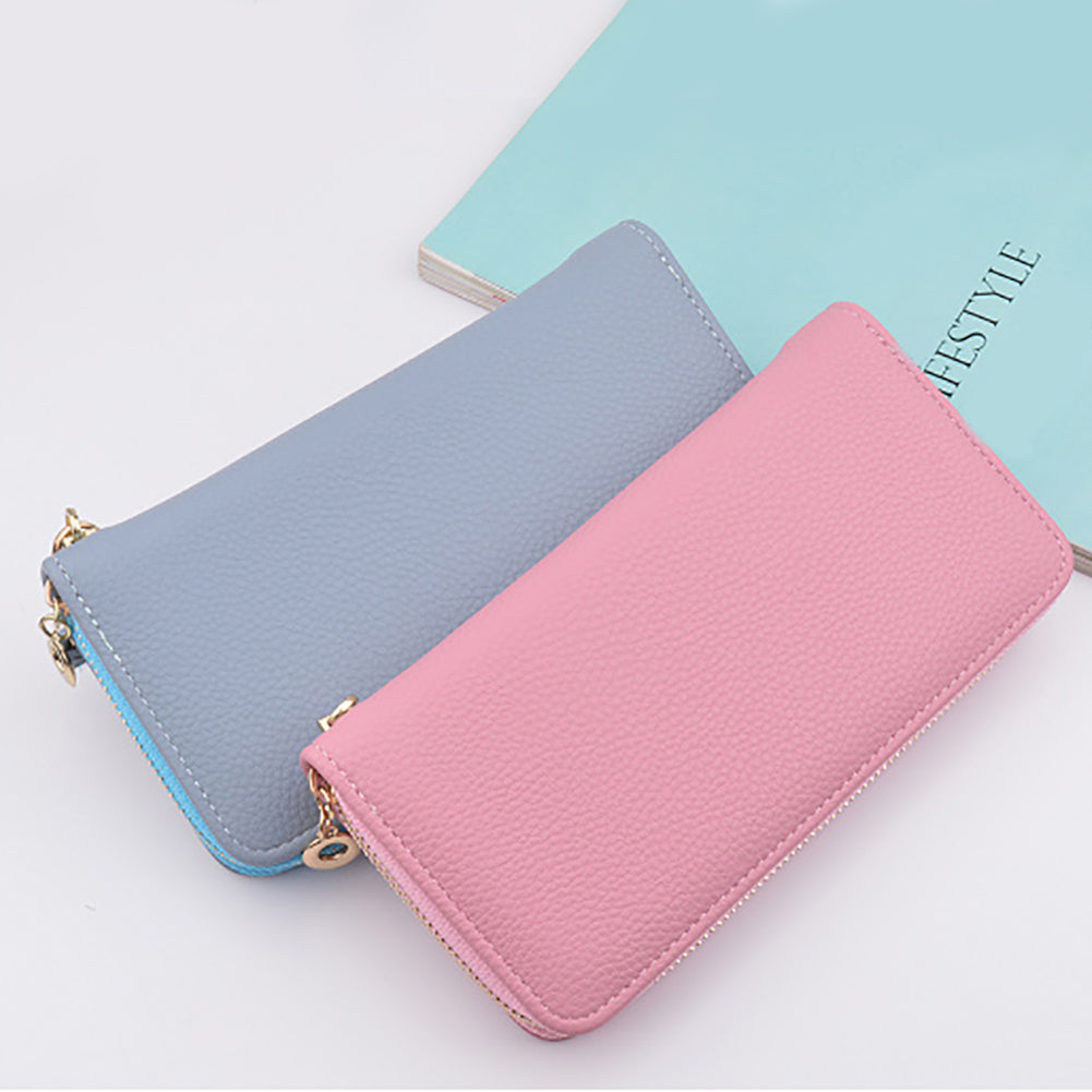 MilkySkinForever Fashion Women Faux Leather Multi-slot Zip Long Wallet Purses Card Holder Clutch