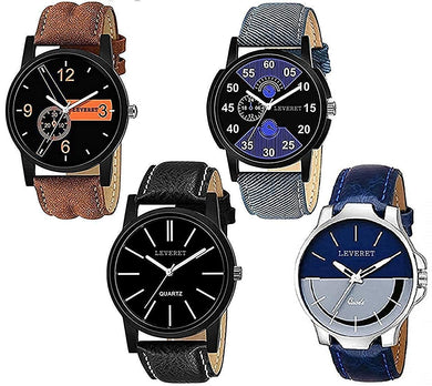 Analogue Men's & Women's Watch (Black Dial) (Pack of 4)