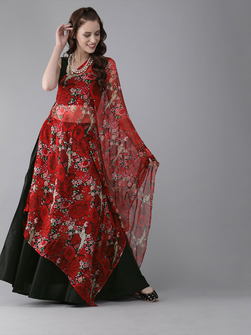 Black & Red Solid Ready to Wear Lehenga & Blouse with Tie-Up Detail Dupatta