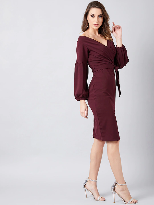 Dramatic Entrance Lantern Sleeve Wrap Dress in Plum