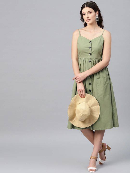 Garden Party Patch-Pocket Midi Dress