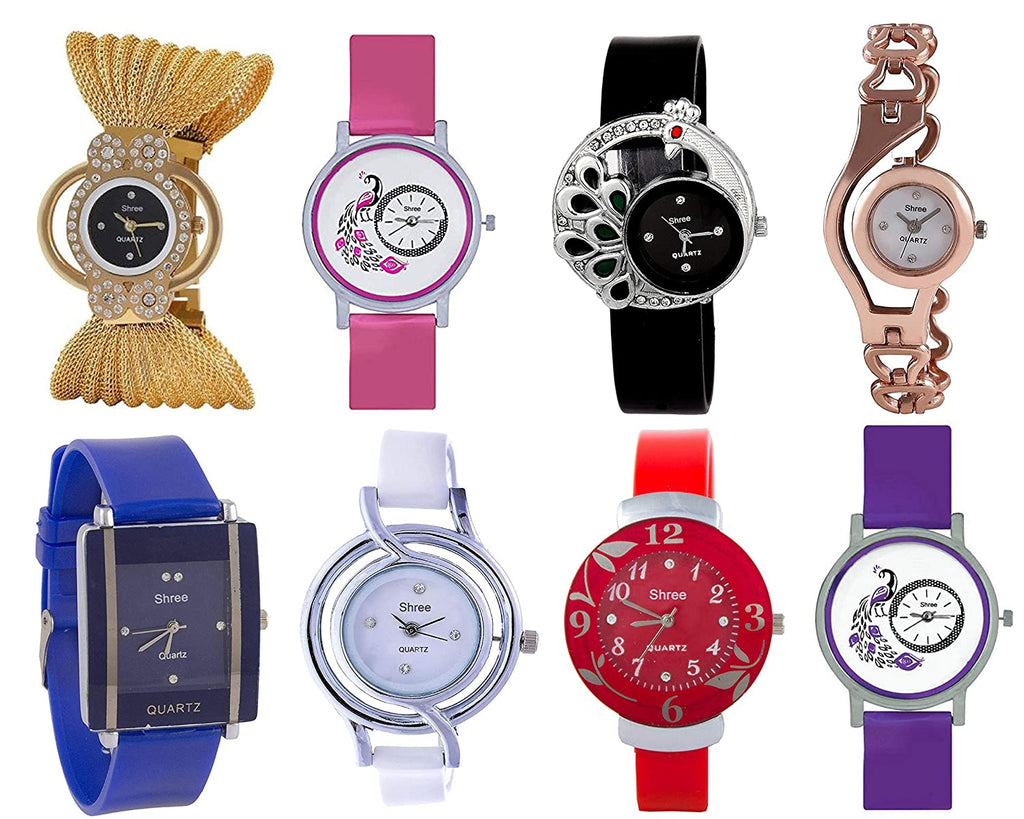 Girls' Watch (Assorted Dial Assorted Colored Strap) (Pack of 8)