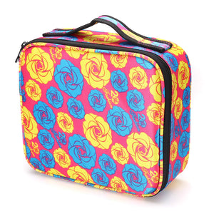 Storage Case with Adjustable Compartment For Cosmetics Products - Pink/Blue/Yellow Flower