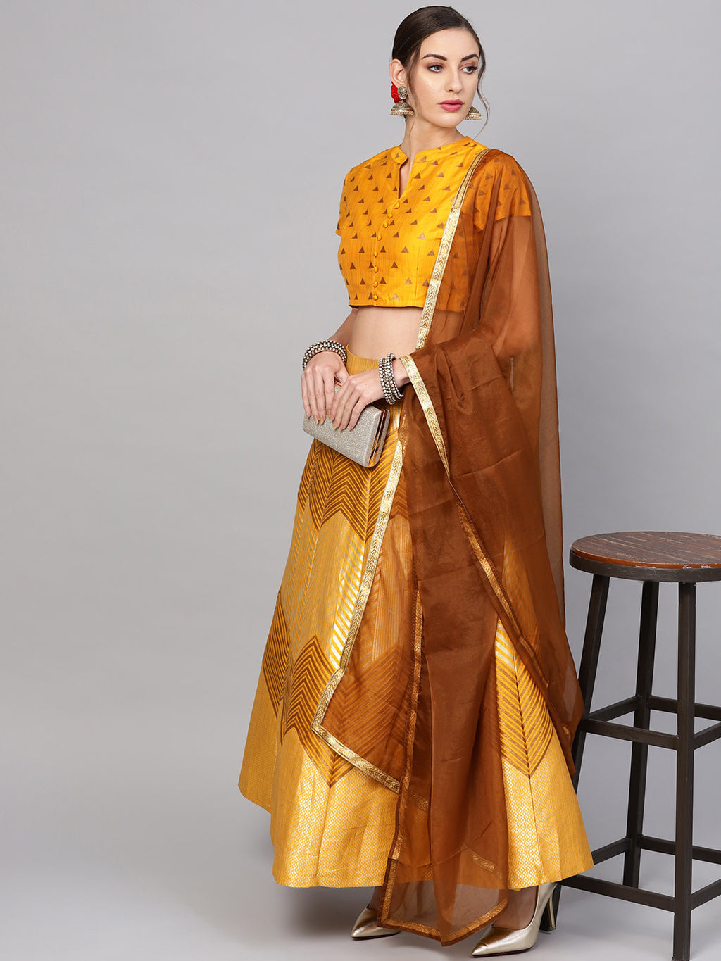 Mustard Yellow & Golden Brocade Ready to Wear Lehenga & Blouse with Dupatta