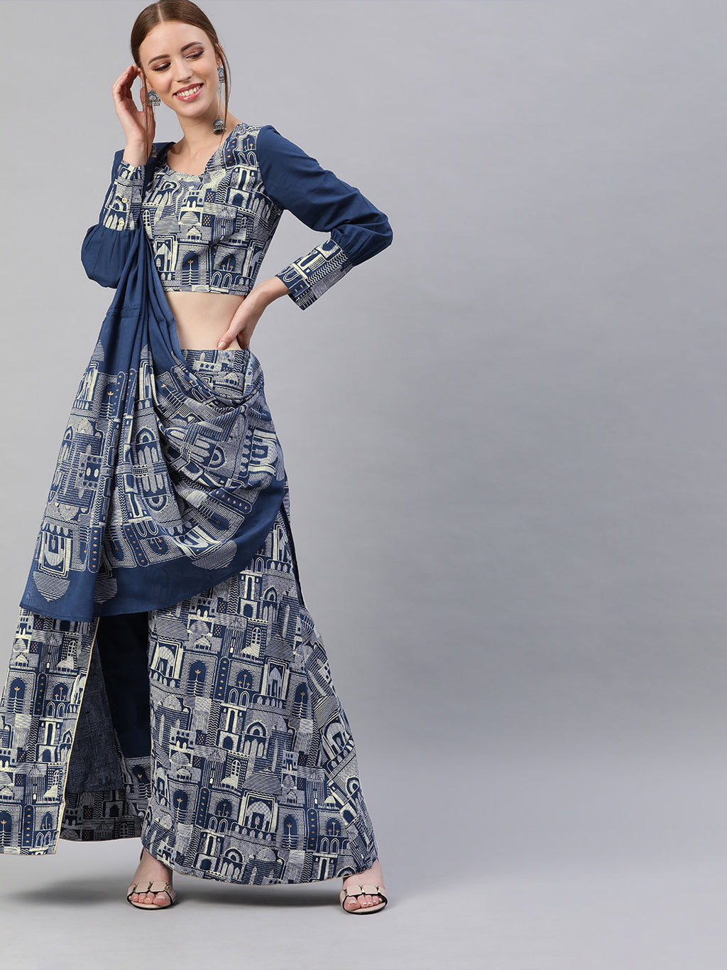 Navy Blue & Off-White Printed Ready to Wear Lehenga & Blouse with Dupatta